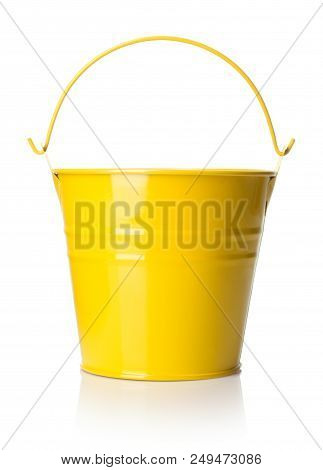 Close-up View Of Yellow Bucket On White Background