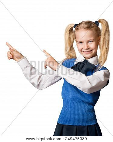 Child Pointing Finger To Advertisement, College Girl Ii School Uniform Advertising Something, Isolat