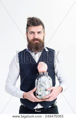 Successful Businessman Holds Jar With Money. Business Concept. Jar With Banknotes. Saving Money Conc