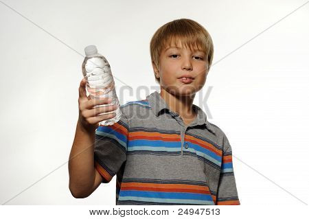 Boy Holding Bottle of Water