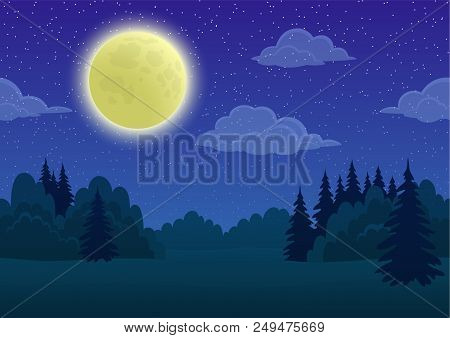 Cartoon Background, Night Landscape With Green Summer Forest, Blue Sky, White Clouds And Big Bright