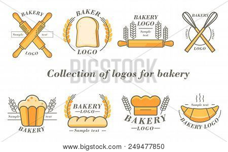 Bakery And Donuts Collections Logo Flat Color. Vector Illustration.
