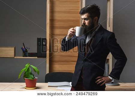 Serious Businessman Drinking Coffee In Office. Hot Coffee. Drinks. Portrait Of Confident Bearded Bus