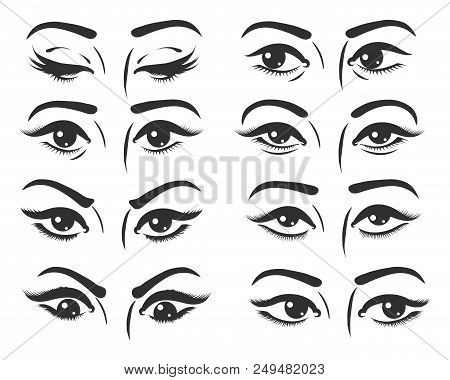Set Of Female Eyes. Beautiful Female Eyes With Different Expression. Eyes Looking Straight, Right, L