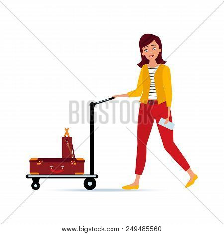 Girl Holding Ticket For Plane, Carries Trolley With Luggage In The Form Of Suitcase With Baggage, Tr