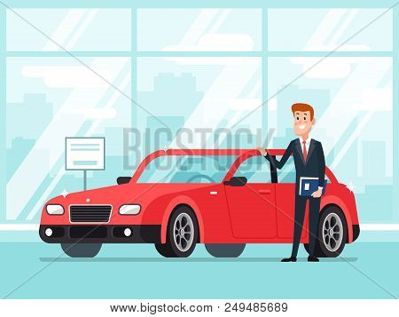 Car salesman in dealer showroom. New cars sales, happy seller agent owner shows premium vehicle auto lease in showroom dealership service to business buyer rentals cartoon concept illustration poster