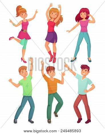 Cartoon People Dance. Adult Persons Smiling And Teens Dancing At Young Fun Friends Disco Company Par