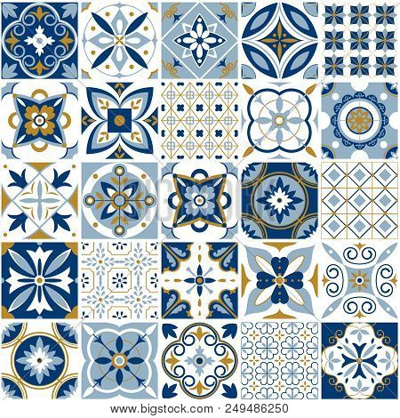 Moroccan Pattern. Decor Tile Texture Print Mosaic Oriental Pattern With Blue Ornament Arabesque. Tra