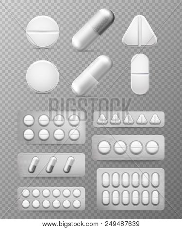 Pills 3d Set. White Tablet, Drug Treatment And Pill. Medicine Close-up Vitamin Capsules Isolated Hea