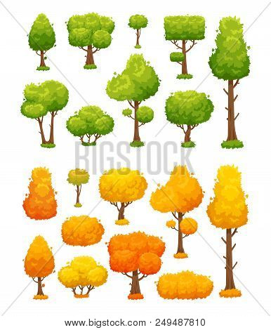 Cartoon Tree. Cute Wood Plants And Bushes. Green And Yellow Autumn Summer Planting Trees Sign For Ga