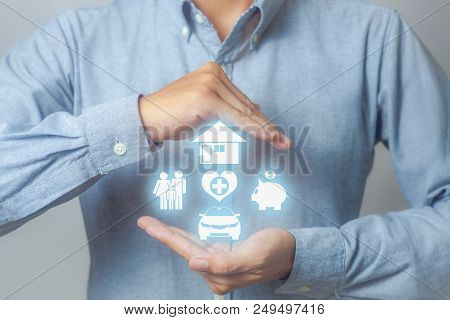 Businessman With Home, Health Insurance, Financial, Car And Family Icon, Insurance Concept.