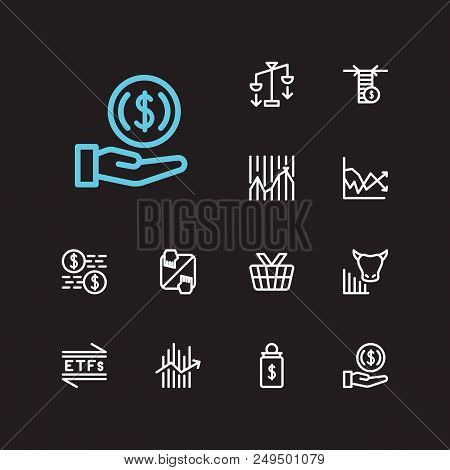 Trading Icons Set. Invest Money And Trading Icons With Averaging Down, Forex And Market Order. Set O