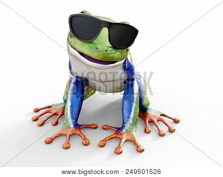 3D Rendering Of A Realistic Red-eyed Tree Frog Wearing Sunglasses.