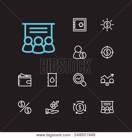 Investment Icons Set. Agriculture Investment And Investment Icons With Money Flow, Investment Target