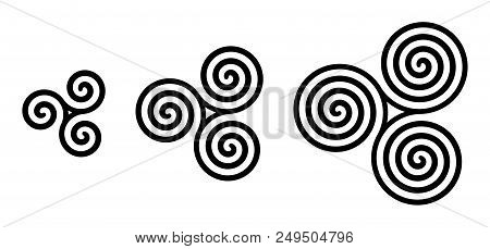 Black Celtic Triskelion Spirals Over White. Triple Spirals With Two, Three And Four Turns. Motifs Of