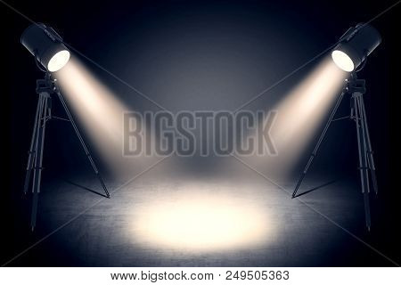 Theater Spot Lights On Black Curtain With Smoke Effect In Empty Studio. 3d Rendering
