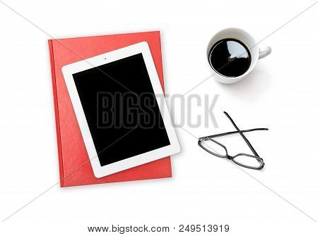 Office Desk Tablet Pc Coffee Glasses On White Background. Minimal Flat Lay