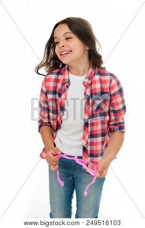 Kid Fashion. Fashion For Kid. Happy Kid Isolated On White. Fashion Model Child. Fashion Kid In Check