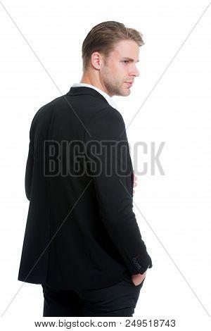 Entrepreneur Business Man. Business Man Entrepreneur In Formal Jacket. Back View Of Entrepreneur Bus
