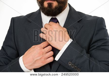 Accessory For Businessman. Detail On Tie Accessory. Businessman Adjusting Tie Accessory. Special Acc