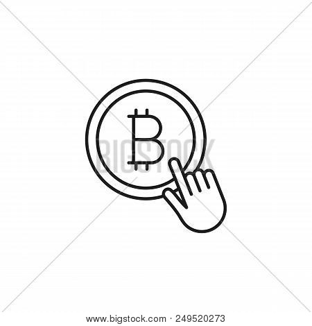 Thin Line Bit Coin Tap Icon On White Background