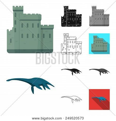 Country Scotland Cartoon, Black, Flat, Monochrome, Outline Icons In Set Collection For Design. Sight