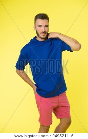 Active Concept. Active Lifestyle. Man In Active Wear On Yellow Background. Be Active In Style.