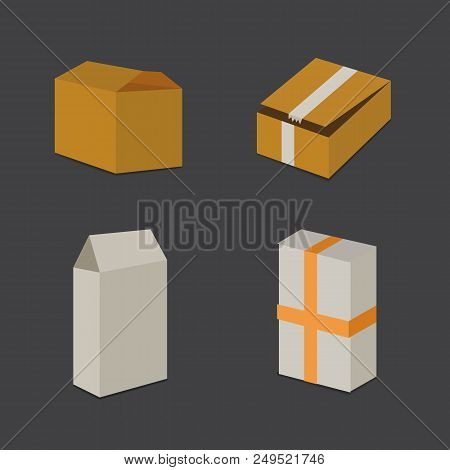 Set Open And Closed Carton Box. Delivery Packaging Vector Illustration