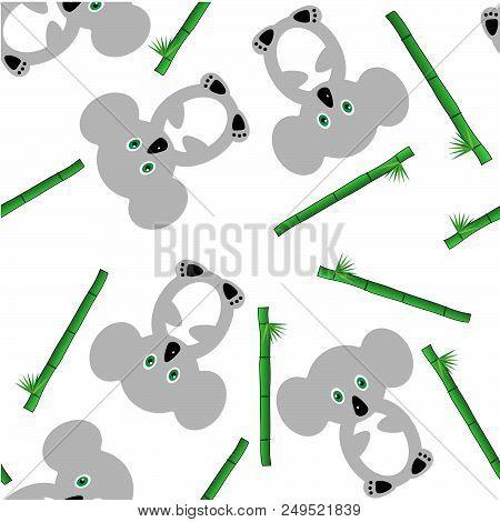 Seamless Pattern Koala Bear.cute Cartoon Bear Character On White Background With Bamboo. Vector Back