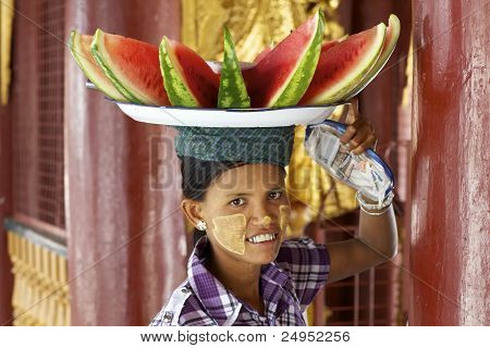 Burmese Woman Selling Watermelon