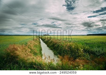 Countryside Landscape With Ameliorative Canal Ditch In Green Agricultural Field Meadow. Summer Cloud