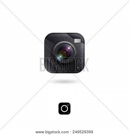 Camera Icon, Ui. Photo Storage Or Photo Library Emblem. Photo Gallery Icons. Rounded Square Symbol W