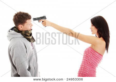 Woman with gun overpowered thug, isolated on white