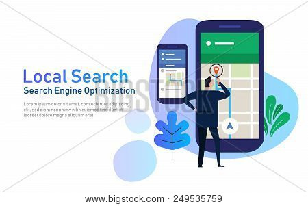 Local Search Marketing Ecommerce. Concept Of Mobile Location Seo Search Engine Optimization. Large P