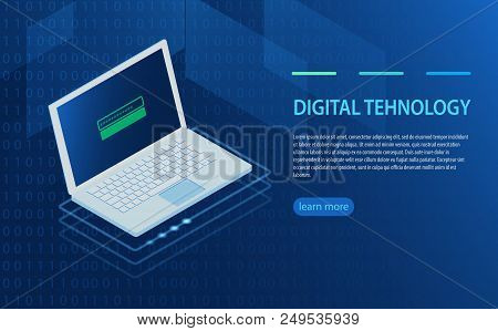 Open Laptop With Authorization Form On Screen, Personal Data Protection And Processing, Information