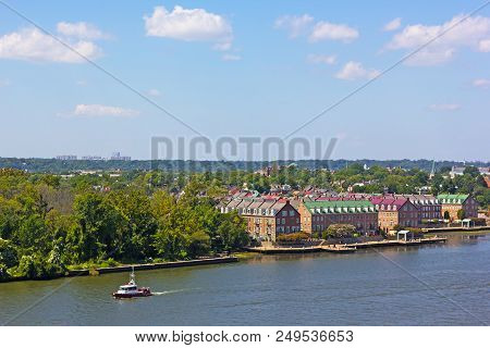 A Panoramic View On Old Town Alexandria From The Potomac River In Virginia, Usa. A River Waterfront
