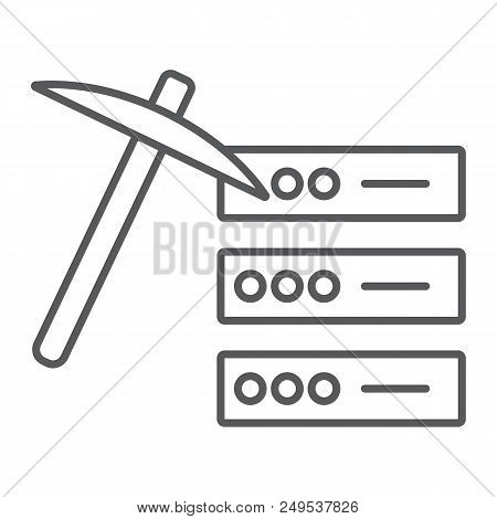 Data Mining Thin Line Icon, Data And Analytics, Mining Pick Sign, Vector Graphics, A Linear Pattern