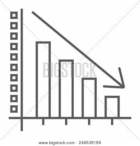 Decrease Thin Line Icon, Reduction And Analytics, Chart Sign, Vector Graphics, A Linear Pattern On A