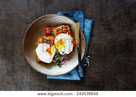 Breakfast Or Lunch Toasts On Plate Flat Lay. Smoked Salmon Toasts With Micro Greens And Poached Eggs