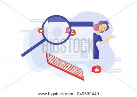 Vector Flat Illustration: Fact Checking Communication Via Internet, Journalist Investigation, Invest