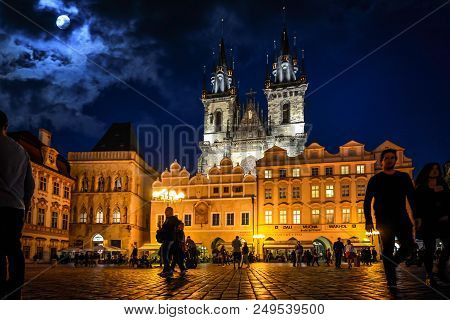 Prague, Czech Republic - September 26 2017: Tourists And Locals Enjoy A Late Night At Old Town Squar
