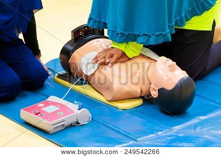 Hand Heart Pump With Medical Dummy On Cpr, In Emergency Refresher Training To Assist Of Physician