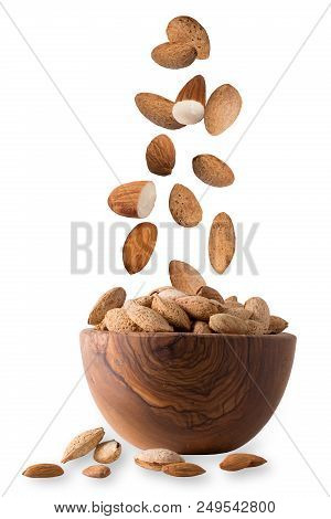 Isolated Nuts. Almond Nuts Isolated On White Background With Clipping Path As Package Design Element