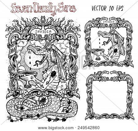 Envy. Latin Word Invidia Means Jealousy. Seven Deadly Sins Concept, Black And White Vector Set With