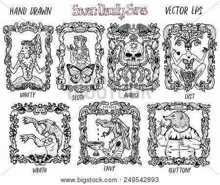 Set With Seven Deadly Sins Concept, Black And White Vector Collection. Hand Drawn Engraved Illustrat