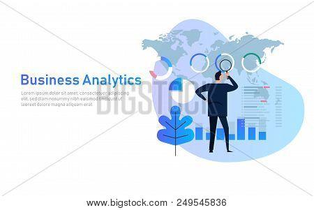 Business Analytics Analysis Graph Financial Business Chart Flat Vector Flat Illustration. Global Wor