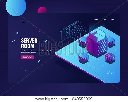 Server Room, Big Data Processing, Cryptocurrency Mining Process, Datacenter And Database Concept, Ap