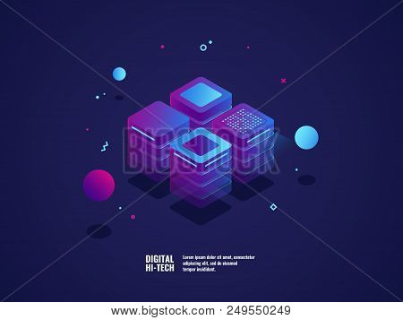 Digital business concept, server room, datacenter and database icon, technology object, web hosting and virtual server rent, neon lighting lements isometric vector illustration, dark ultraviolet poster