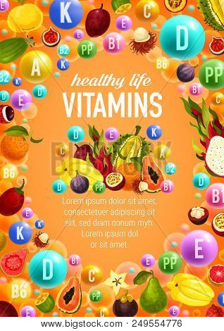 Healthy Life With Vitamins A, C, D And And Minerals B, K, P Poster. Fruits And Vegetables, Exotic Fr
