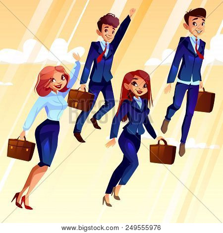 College Students Vector Illustration. University Boys And Girls With School Bags Flying Up With Rais